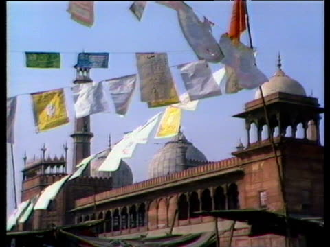 Political banners bunting and posters in support of Gandhi family Delhi 1984