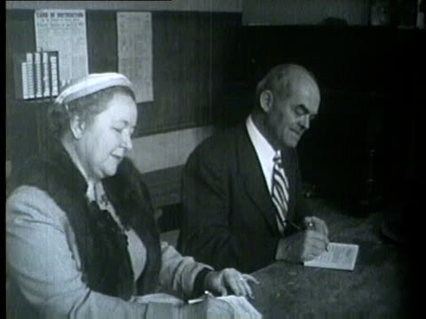 political candidates their wives and wthers voting in the primary election in chicago on april 13 1954 - 1954 stock videos & royalty-free footage