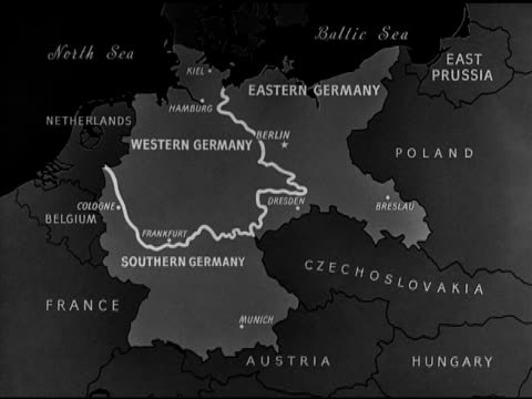 stockvideo's en b-roll-footage met map political commentator sumner welles proposed division of germany into three 'states' southern area - commentator