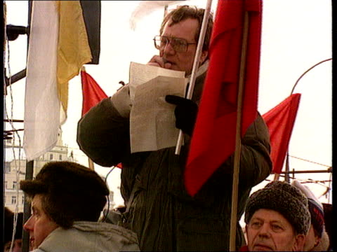 Political crisis RUSSIAN Moscow LACMS Pro Communist demonstrators outside Kremlin with hammer and sickle flags CMS Demonstrator with megaphone CMS...