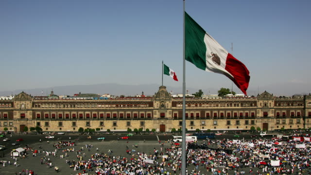 T/L, WS, HA,  Political demonstration in front of National Palace, Zocalo, Mexico City, Mexico