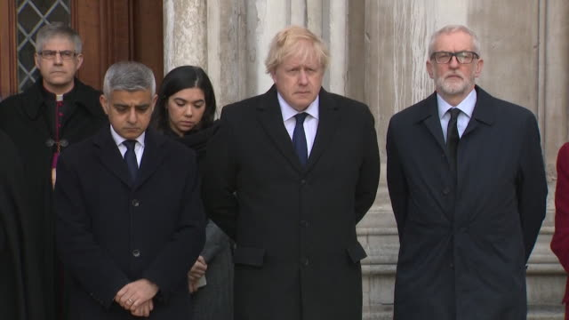 political leaders and london mayor boris johnson sadiq khan and jeremy corbyn attend vigil in memory of the victims of the london bridge terror attack - sadiq khan stock videos & royalty-free footage
