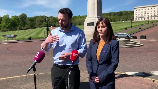 political leaders attend talks at stormont house in ulster with northern ireland's church heads who urged politicians to reach an agreement and... - ulster stock-videos und b-roll-filmmaterial