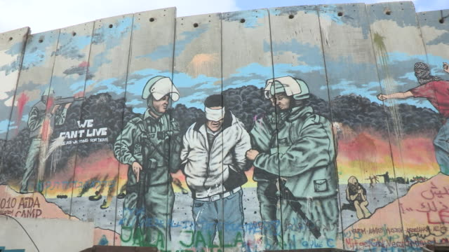 vidéos et rushes de political mural, israel and palestine - limite