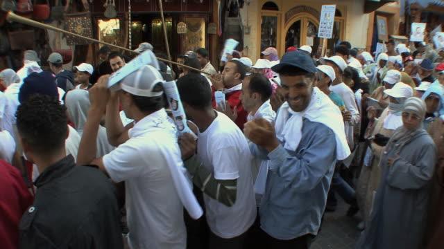 ms ha pan political rally in medina, essaouira, morocco - political rally stock videos and b-roll footage