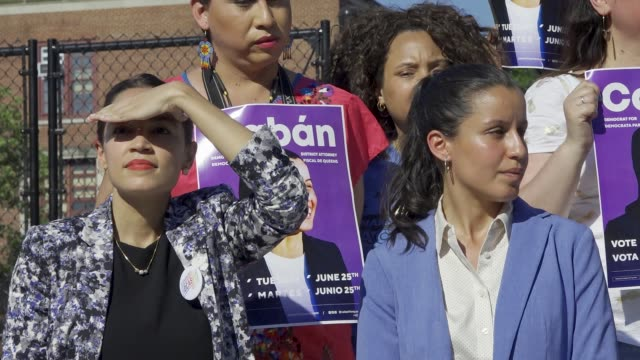 A political rally is held for Queens District Attorney candidate Tiffany Cabán in Travers Park in Jackson Heights Queens for the Primary day on June...