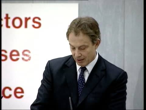 political row continues over nhs standards; england: newcastle: int prime minister tony blair mp across to platform pull out health secretary alan... - labour party stock videos & royalty-free footage
