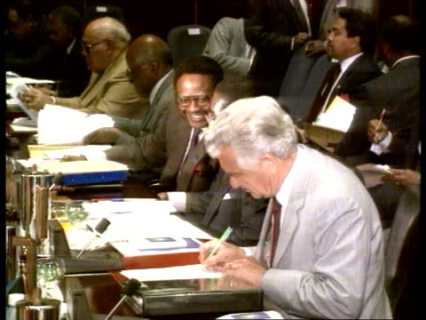 commonwealth conference day 2 debt relief naf zimbabwe harare john major along towards with wife norma la ms wall mural pan rl delegates in seats... - bob hawke stock videos and b-roll footage