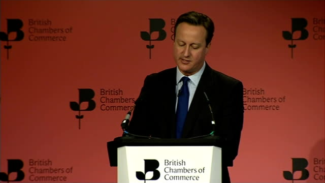 Politicians attend British Chambers of Commerce annual conference INT David Cameron MP speech SOT I warn you I warn you not to grow your business...