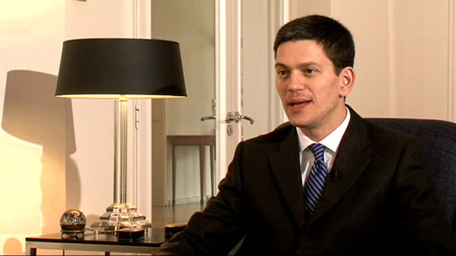 politicians, former diplomats and friends reaction to barack obama's election win; int david miliband mp interview sot - obama has made history... - social justice concept 個影片檔及 b 捲影像