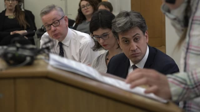 Politicians including Ed Miliband and Michael Gove listening to address by Greta Thunberg climate change activist in Westminster