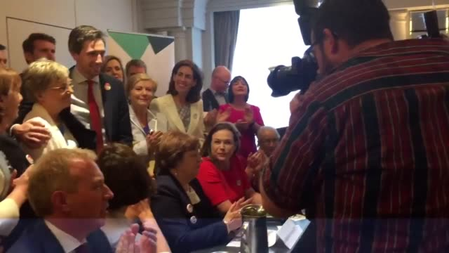Politicians including minister for health Simon Harris attending a Women's Health in Ireland event to show support for a Yes vote in Friday's...