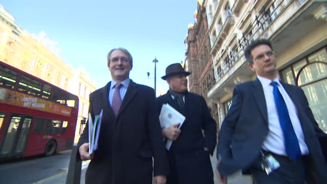 politicians leave whitehall after discussions with theresa may about brexit on 17th january 2019. - david m. davis politician stock videos & royalty-free footage