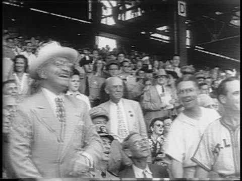 politicians line the stadium at the first baseball game a president has attended since pearl harbor / arthur vandenburg fred vinson sam rayburn ken... - sam rayburn video stock e b–roll