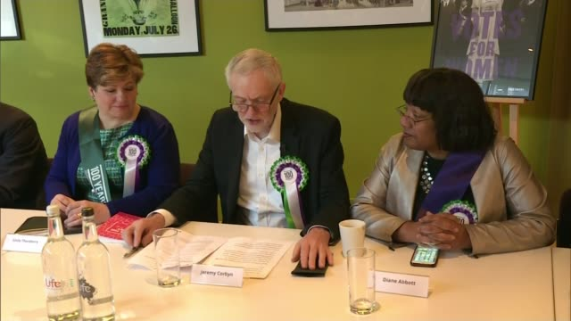 Politicians mark 100 years since some women granted the right to vote London Westminster INT Members of the shadow cabinet seated at table for...