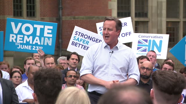 politicians on both sides of britain's eu debate have been involved in a mad dash across the country on the final day of campaigning ahead of... - david cameron politician stock videos & royalty-free footage