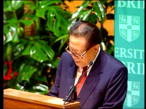 chinese president jiang zemin state visit day 4 pool president jiang zemin sitting and signing visitors book president jiang zemin speech sot talks... - communist party stock videos and b-roll footage