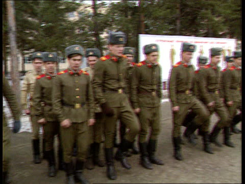 Commonwealth of independent states proposals CF TAPE NO LONGER AVAILABLE eC4N USSR MS Soviet soldiers lined up on parade Ukraine then march off PAN...