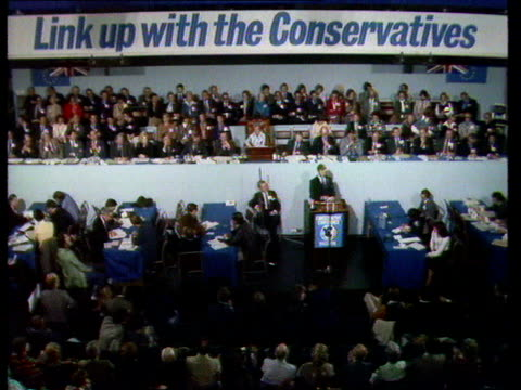 conservative party conference; e) donald walters speech england, brighton walters speaking sof - what we say..... people of wales. thatcher and... - イーストサセックス点の映像素材/bロール