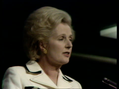 conservative party conference final day thatcher attacks government a nat thatcher on patriotism england east sussex brighton conservative party... - mp stock-videos und b-roll-filmmaterial
