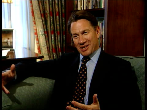 conservative party thatcher anniversary/new philosophy itn london michael portillo interview sot labour has been forced to respond to mrs thatcher - philosophy stock videos & royalty-free footage