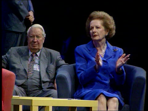 Conservative Party Thatcher Anniversary/New Philosophy LIB Dorset Bournemouth Former Prime Ministers Lady Thatcher and Sir Edward Heath sat on...
