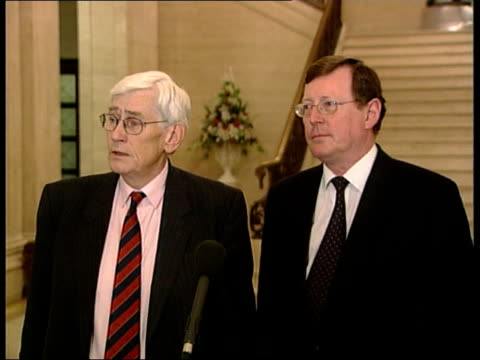 politics: devolution: royal assent; itn northern ireland: belfast: stormont: gv irish government ministers including liz o'donnell towards into room... - politics and government stock videos & royalty-free footage
