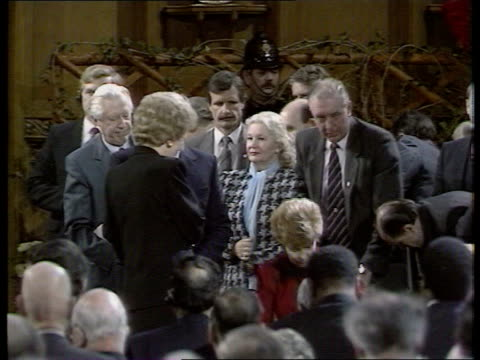 Expulsions Row BBC POOL/ITN LIB LONDON Guildhall TMS Margaret Thatcher at lectern as Mikhail Gorbachev wife Raisa seated TCMS Gorbachev rises TMS...