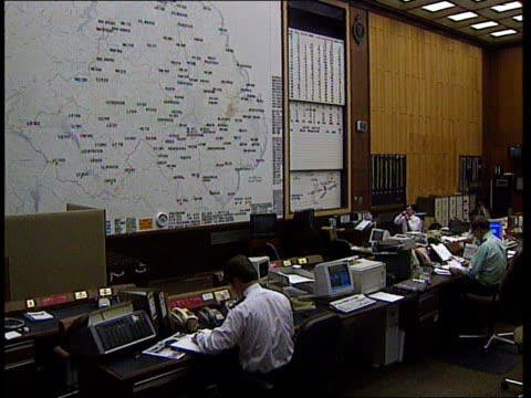 politics first day of ira ceasefire/prisoner transfer northern ireland belfast ruc control centre lms ruc officers seated at control centre office... - ceasefire stock videos and b-roll footage
