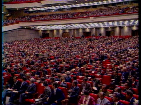 Politics First parliament meeting since changes in Eastern Bloc Gorbachev on dais Deputies seated
