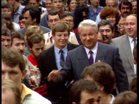 Former Soviet Republics Foreign Aid RUSSIAN FED TCMS Yeltsin thru crowds FREEZE FRAME TX Moscow ITN