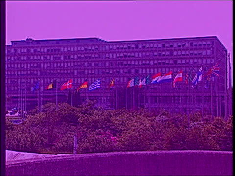 france face legal action over british beef ban; lib belgium: brussels: ext graphicised shots of eu commission building - brussels capital region stock videos & royalty-free footage