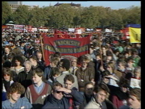 french ban on british beef goods boycott call lib hyde park demonstration calling for boycott of south african goods over apartheid gv antiapartheid... - for sale englischer satz stock-videos und b-roll-filmmaterial