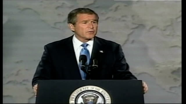 president bush warns of saddam threat; - iraq could decide on any given day to provide a biological or chemical weapon to a terrorist group or... - saddam hussein stock videos & royalty-free footage