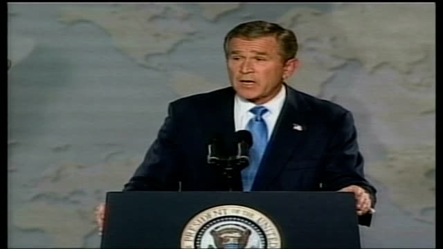 president bush warns of saddam threat; usa: cincinnati: int us president george w bush speech sot - an iraqi regime faced with its own demise may... - iraq stock videos & royalty-free footage