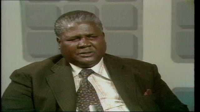 politics joshua nkomo interview a nkomo interview england london itn studio nkomo sof oh my feelings are zoom other colonies - joshua nkomo stock videos & royalty-free footage