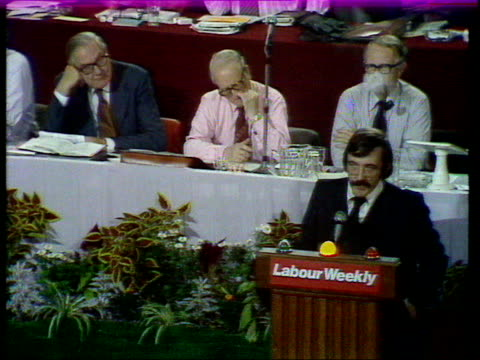 labour party conference; b) bob marshall andrews on economy england, blackpool bob marshall andrews on podium sof - if there is an exonomist who... - judith hart stock videos & royalty-free footage
