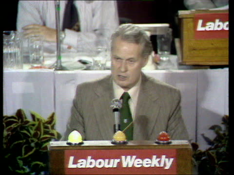 Labour Party Conference c Harry Urwin Transport and General Workers Union on collective bargaining ENGLAND Blackpool Harry Urwin on podium speakiing...