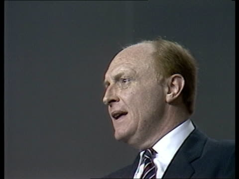stockvideo's en b-roll-footage met labour party conference day 3 england bournemouth speech sof we're going to use those funds in britain - neil kinnock