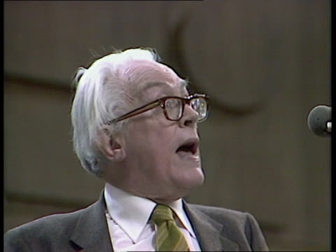 """labour party conference; england, brighton michael foot speaking sof: """"there's no such thing -- election"""" cut outs jim callaghan and gerald kaufman... - gerald kaufman stock videos & royalty-free footage"""