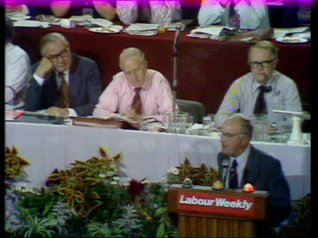 labour party conference; f) hugh scanlon on unemployment scanlon on podium, speaking sof - jim, there's a reservoir of good people.... james... - ヒュー・スキャンロン点の映像素材/bロール