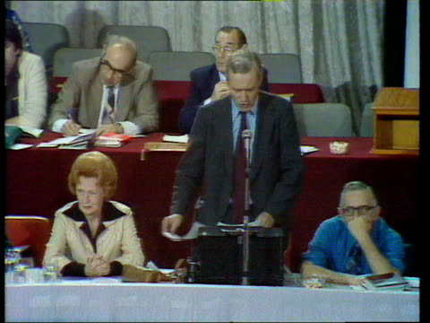 Labour Party Conference g Tony Benn failure of capitalism criticism of capitalism ENGLAND Blackpool Benn at podium speaking Barbara Castle seated...