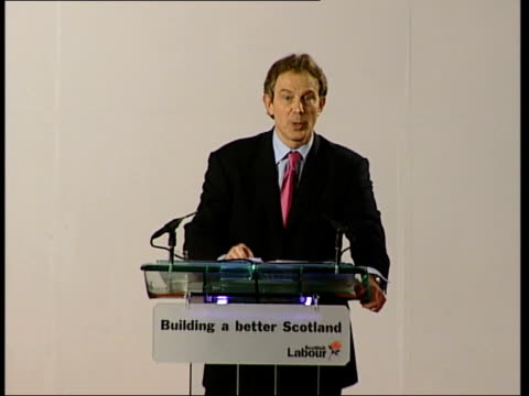 stockvideo's en b-roll-footage met labour party conference itn scotland perth tony blair mp along onto podium at scottish labour party conference tony blair mp speech sot here in... - labor partij