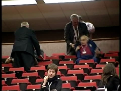 labour party conference: walter wolfgang controversy; file / tx 28.9.05 walter wolfgang and steve forrest being manhandled from their seats after... - mp点の映像素材/bロール