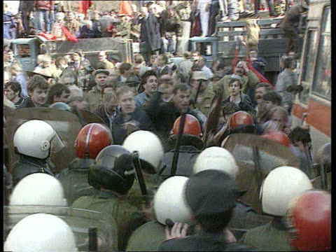 politics may day clashes russian federation moscow ms band leading may day procession ltgv parade with mass of people and banners cms little boy on... - communist flag stock videos and b-roll footage