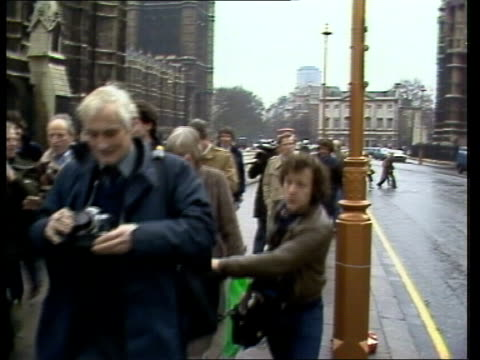 stockvideo's en b-roll-footage met mellish resignation hoc ms peter tatchell candidate for bermondsey tx along street to bv outside eng house of commons - bermondsey