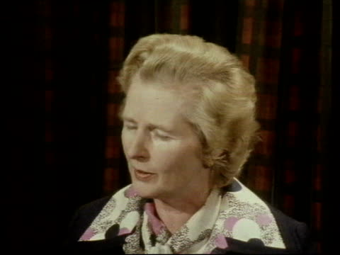 Mrs Thatcher in Newcastle ENGLAND Newcastle MS Margeret Thatcher chatting MS Demos and placards MS Talking amid demos MS Ditto Thatcher interview...