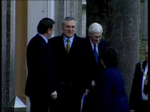 politics northsouth ministerial council meeting itn northern ireland ext side tgv irish prime minister bertie ahern along to shake with david trimble... - bertie ahern stock videos and b-roll footage
