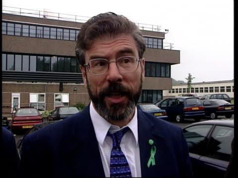 Politics Peace Agreement DAY Gerry Adams MP interview SOT K Ulster Unionists are not prepared to have catholics in government General John de...