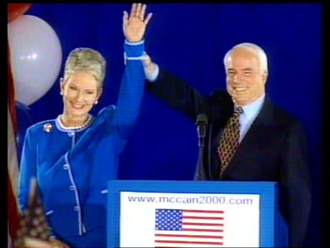 vídeos de stock, filmes e b-roll de presidential election bush defeat cen robert usa new hampshire int ms john mccain onto podium beside wife cindy mccain following victory in new... - a. gore